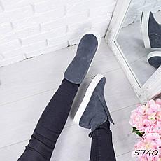 """Ботинки, ботильоны серые """"Jill"""" НАТУРАЛЬНАЯ ЗАМША, повседневная, демисезонная, осенняя, женская обувь, фото 2"""