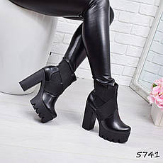 """Ботильоны женские на каблуке, черные """"Samantha"""" НАТУРАЛЬНАЯ КОЖА, повседневная обувь, ботинки женские, фото 2"""