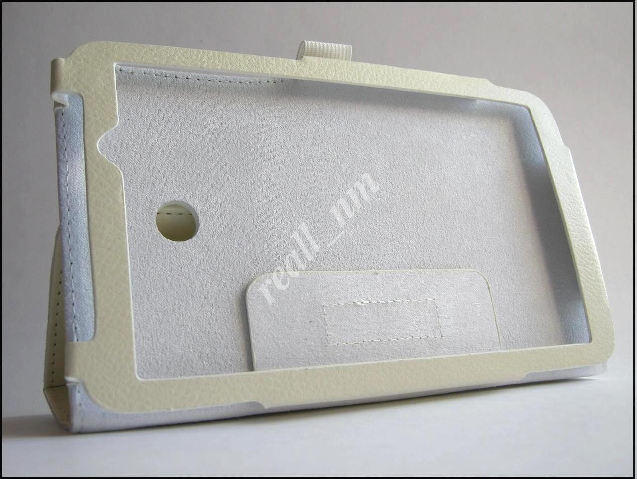 Белый  кожаный чехол-книжка Folio Case для Asus Fonepad 7 Fe170CG