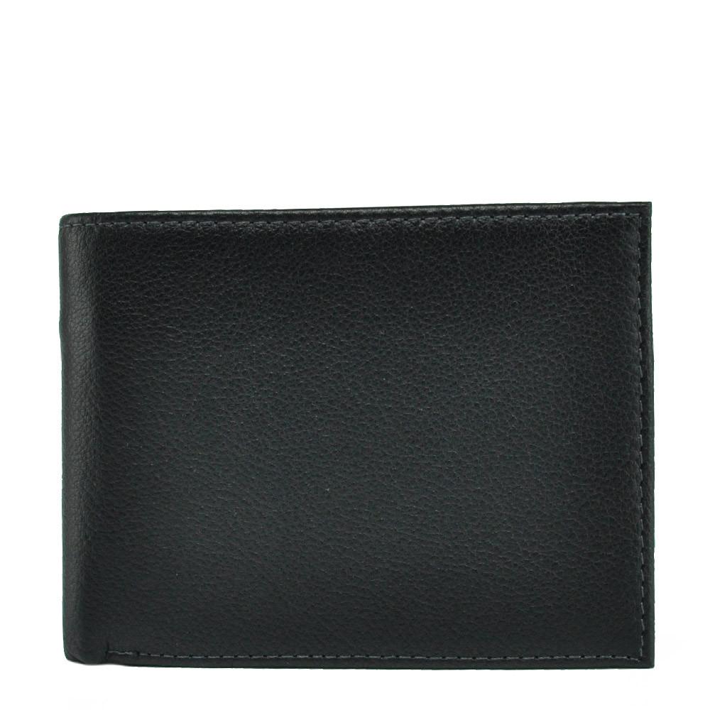 Horton Collection горизонтальное портмоне из натуральной кожи в черном цвете Tr365A