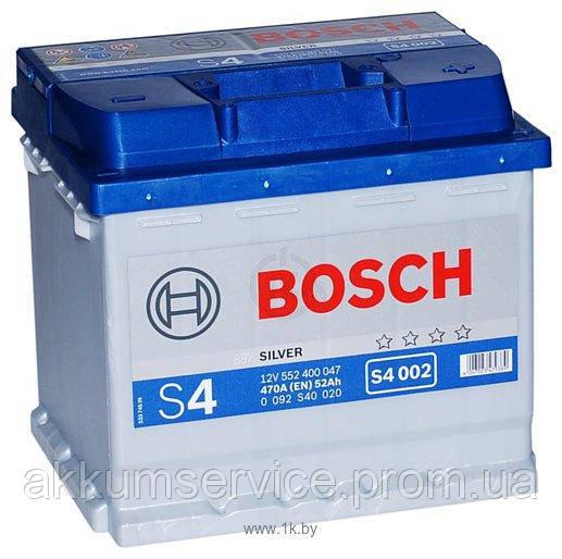 Аккумулятор автомобильный Bosch S4 Silver 52Ah R+ 470A (S4 002)