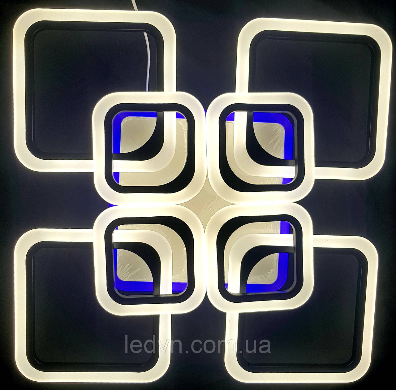 Светодиодная люстра 4+4 квадрата диммер+синий led черная