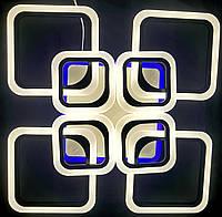 Светодиодная люстра 4+4 квадрата диммер+синий led черная, фото 1