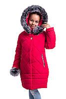 Пальто для девочки зимнее  модное  40-42 красный