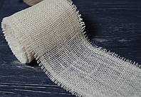 Декоративная лента 11 см из мешковины белая