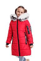 Зимние пуховики на девочек от производителя  34-40 красный