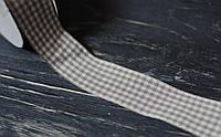 Лента тканная в клетку св. серая 2,5 см *90 см, фото 1