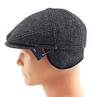 Реглан мужские кепки остался 57 размер зимняя утепленная теплая с ушами серая в точечку кепка