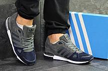 Мужские кроссовки Adidas ZX 750,замшевые,серые с синим 46р, фото 2