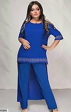 Нарядный шикарный женский костюм больших размеров 50-52,54-56,58-60, фото 3