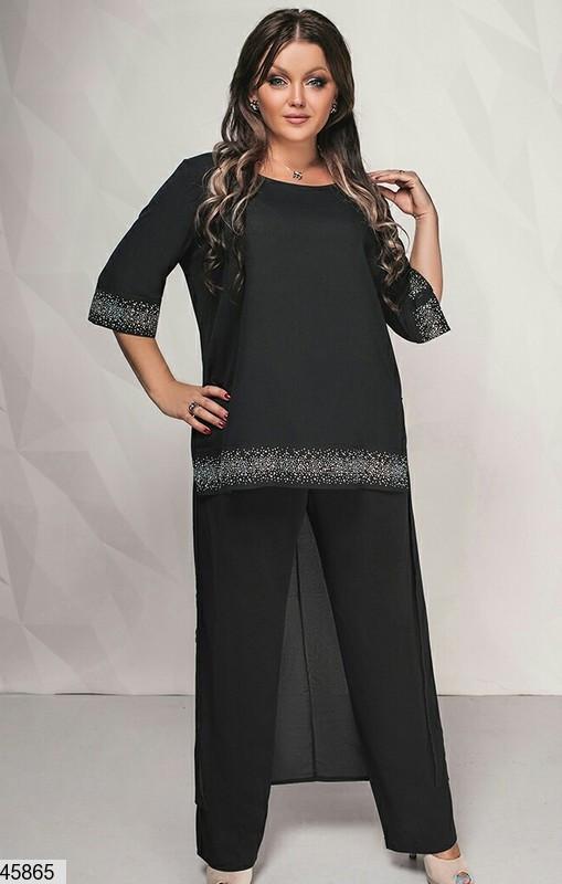 Нарядный шикарный женский костюм больших размеров 50-52,54-56,58-60