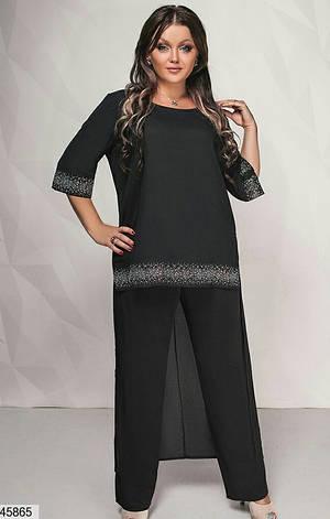 Нарядный шикарный женский костюм больших размеров 50-52,54-56,58-60, фото 2