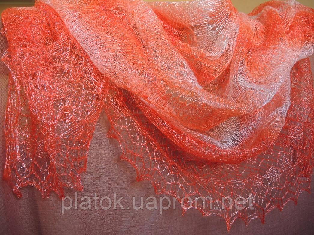 """Шаль """"""""Волна"""""""" Ш-00180, цвет коралловый, оренбургский платок (шаль)"""