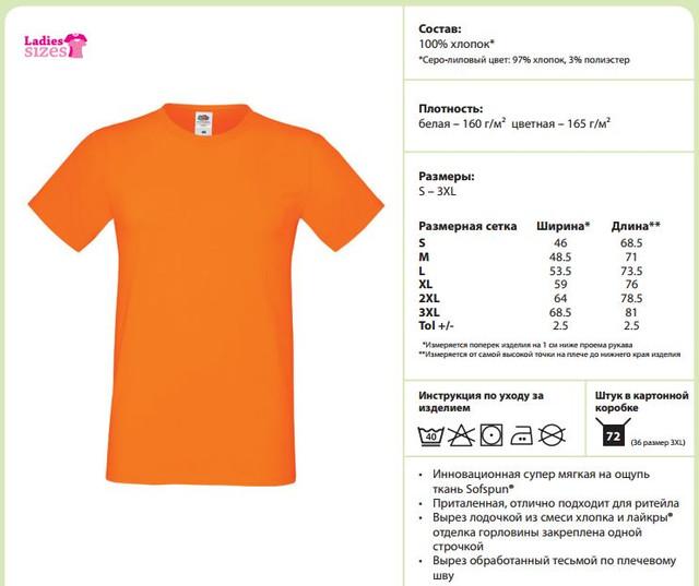 Таблица размеров футболок SOFSPUN