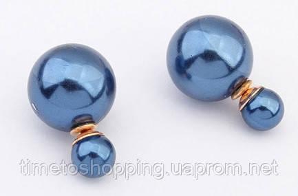 Сережки пуссети в стилі Miss Dior. Сині.