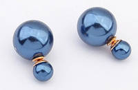 Серьги пуссеты в стиле Miss Dior. Синие.