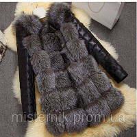 Меховая жилетка с рукавами под чернобурку  XL