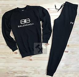 Спортивный костюм balenciaga и under armour черного цвета (люкс копия)