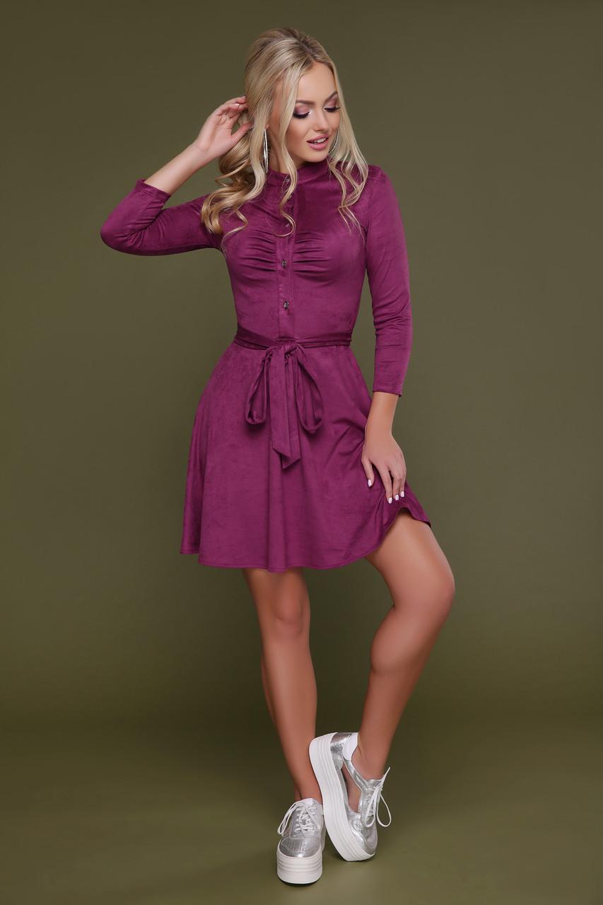Красивое замшевое платье рубашка фиолетовое