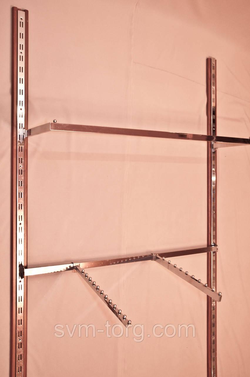 Перемычка пристенная квадратная хромированная, 120 см.