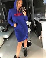 Платье толстовка Doratti теплое модное с капюшоном и карманом разные цвета Smdor2656