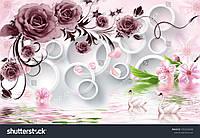 Фотообои  3д  цвет розы и вишни