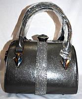 """Женская коричневая сумка-саквояж класса """"Люкс"""" с ремешком, серая, 059016, фото 1"""