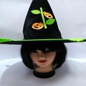 Карнавальная Велюровая Шляпа Ведьмы с Тыквами на Хэллоуин