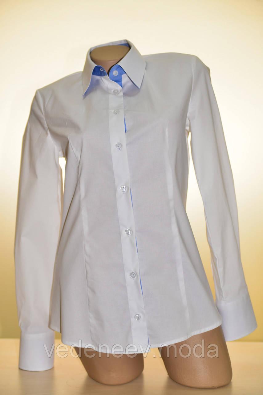Белая женсккая блуза комбинированная