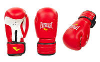 Перчатки боксерские кожа  EVERLAST 10 oz красный синий черный