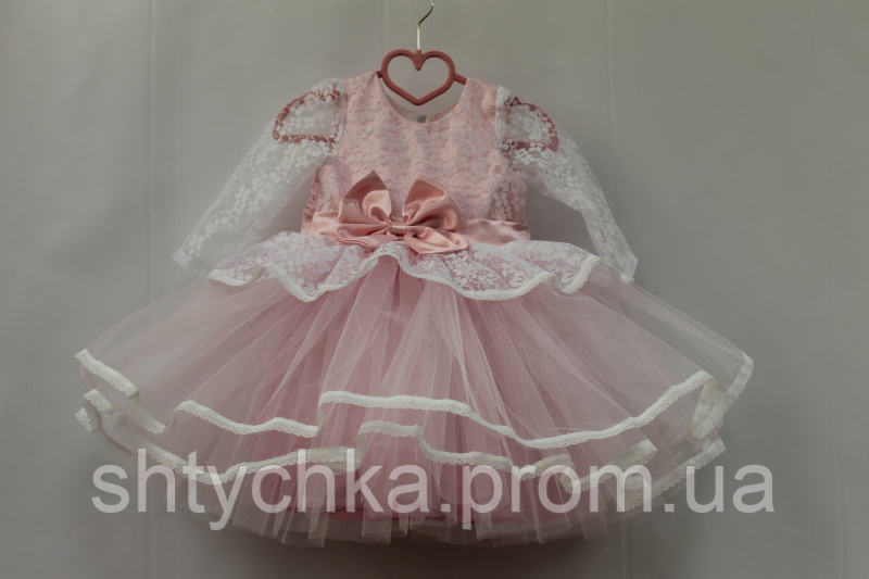 """Нарядное платье на девочку """"Карамелька"""" нежно розовая с рукавами"""
