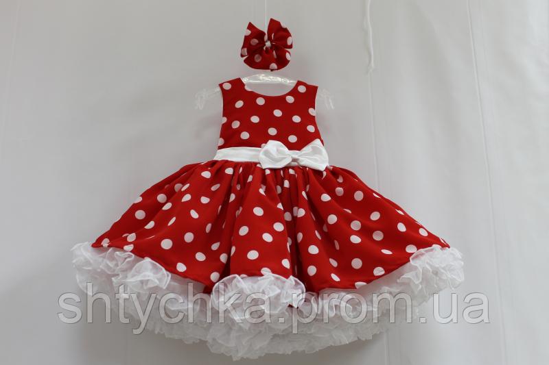 Нарядное платье на девочку в стиле Стиляги красное в белый горох с белым подьюпником