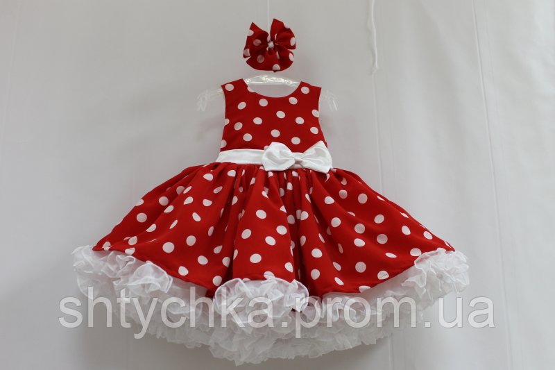 46ee9d4ebd9 Нарядное платье на девочку в стиле Стиляги красное в белый горох с белым  подьюпником