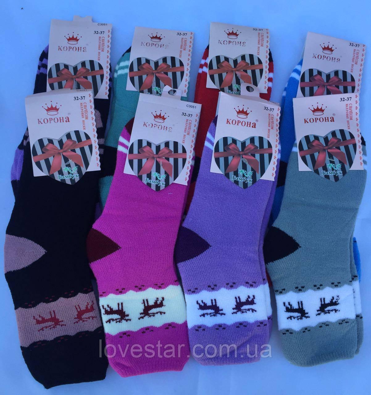 Подростковые махровые носки бамбук КОРОНА Р.р 32-37