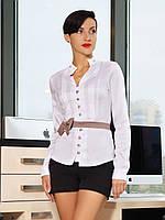 Блузка Лав д/р белая с бежевой отделкой приталенная со стойкой и поясом-бантиком