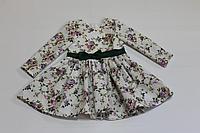 """Повседневно - нарядное платье на девочку """"цветочное настроение"""" с зеленым поясом и бантиком, и рукавами"""