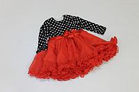 """Нарядное платье на девочку """"горошек с красным низом"""""""