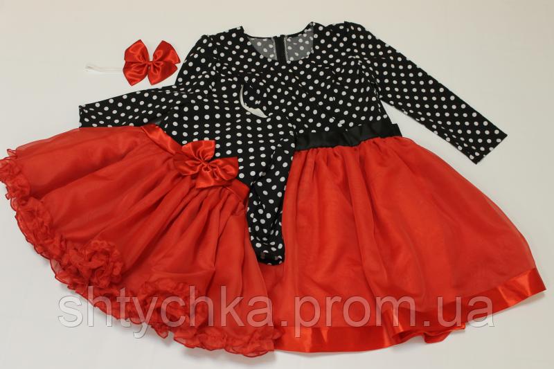 """Нарядные платья на маму и доченьку в стиле """"Фемели лук"""" с рукавами: горошек с красным низом"""
