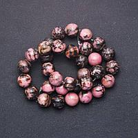 Бусины из натурального камня Родонит гладкий шарик d-12мм нитка L-+-38см