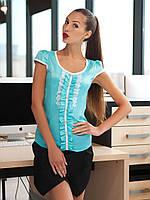 Блузка Монро к/р мятная с белой кружевной отделкой бантиками и рукавом-японкой атласная приталенная