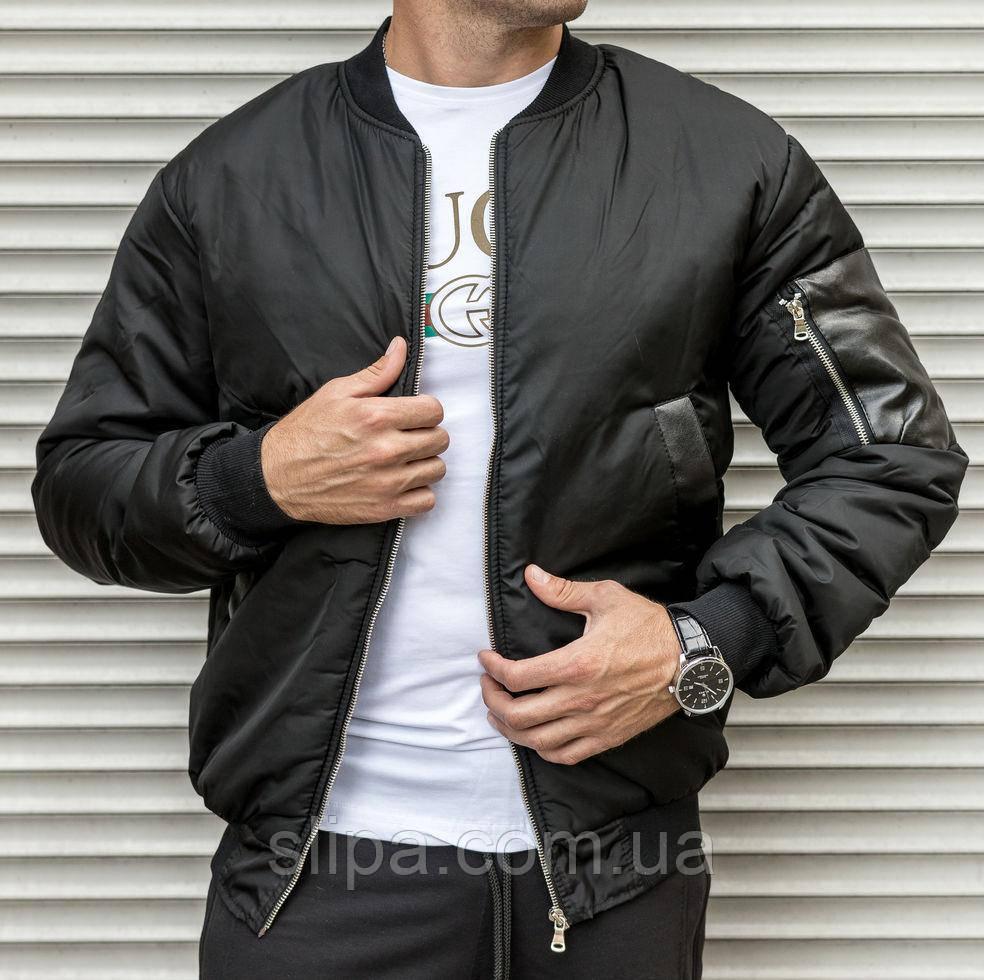 Чоловіча тепла куртка-бомбер чорного кольору, на синтепоні
