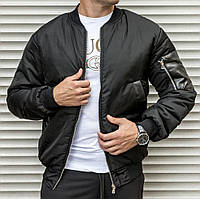 Мужская тёплая куртка бомбер черного цвета, на синтепоне, фото 1
