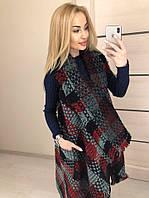 Красная вязаная женская накидка-пончо с карманами . Арт-7326/80