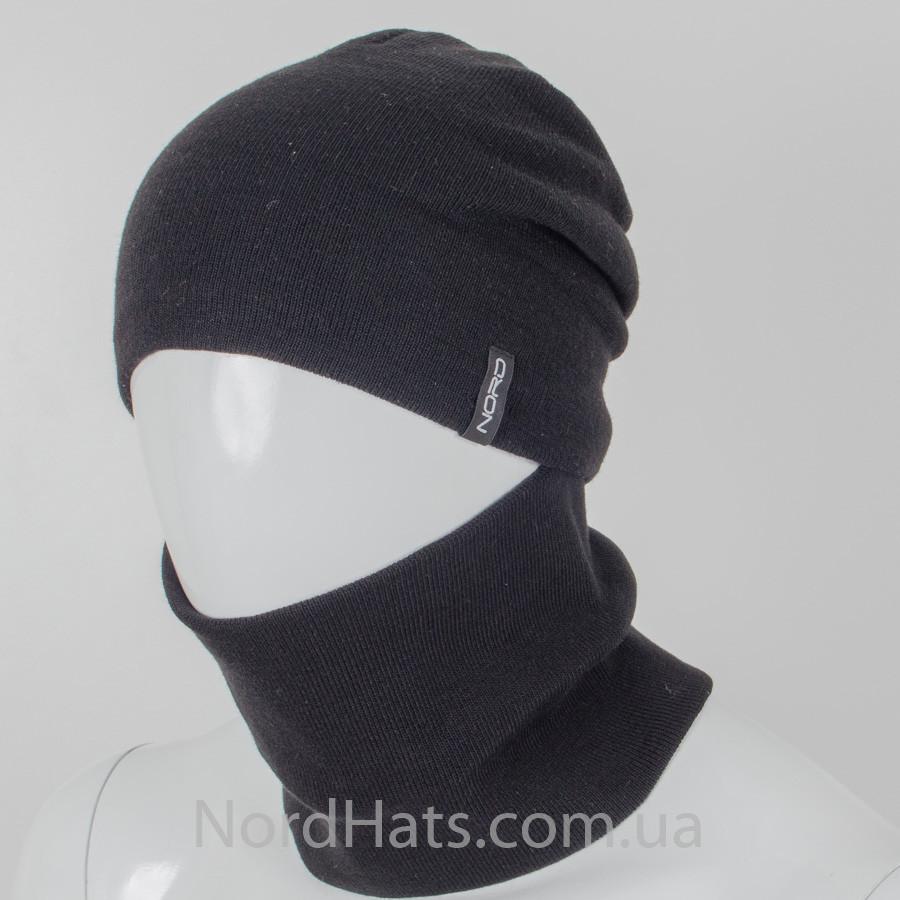 Комплект, шапка+бафф, (Черный)