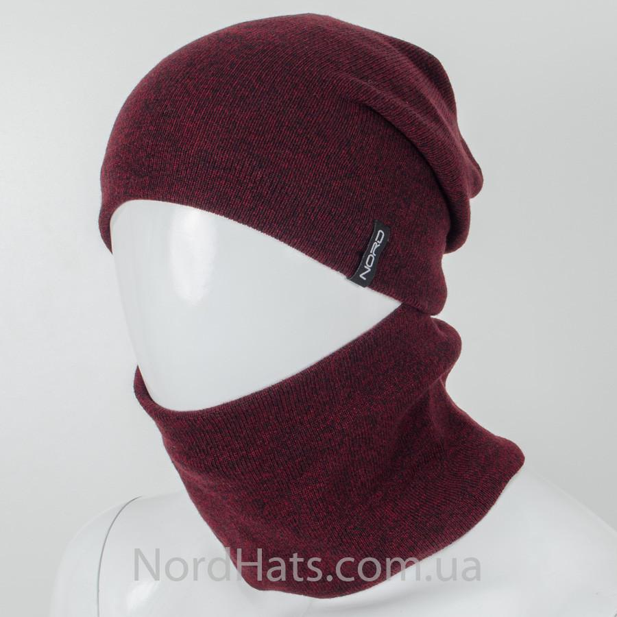Комплект, шапка+бафф,(Меланж бордо), оптом.