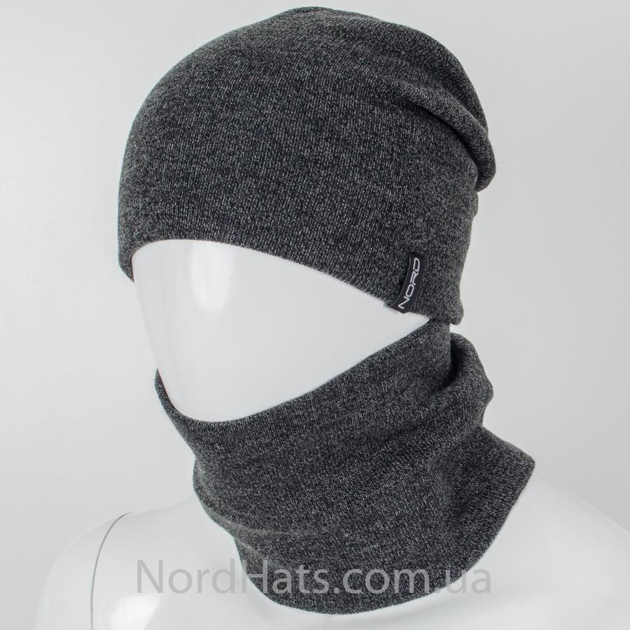 Комплект, шапка+бафф (Меланж темно-серый).
