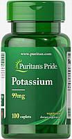Калий Глюконат, Потассиум, Puritan's pride, Potassium 99 мг, 100 таблеток