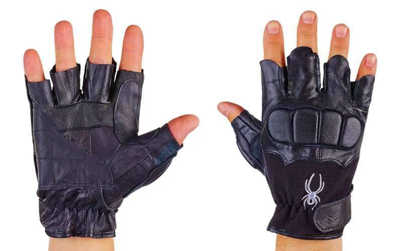 Рукавички спортивні багатоцільові  BC-160 (шкіра, відкриті пальці, розмір L-XL, чорний)