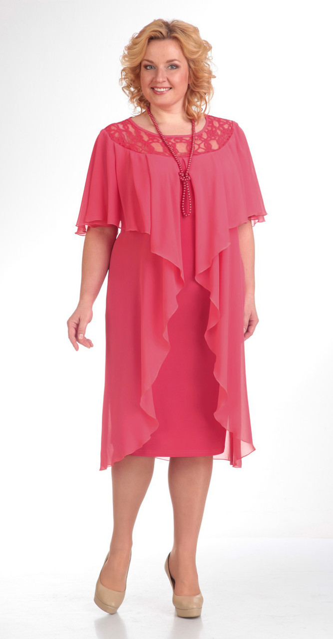 Платье Pretty-168 белорусский трикотаж, корраловый, 56