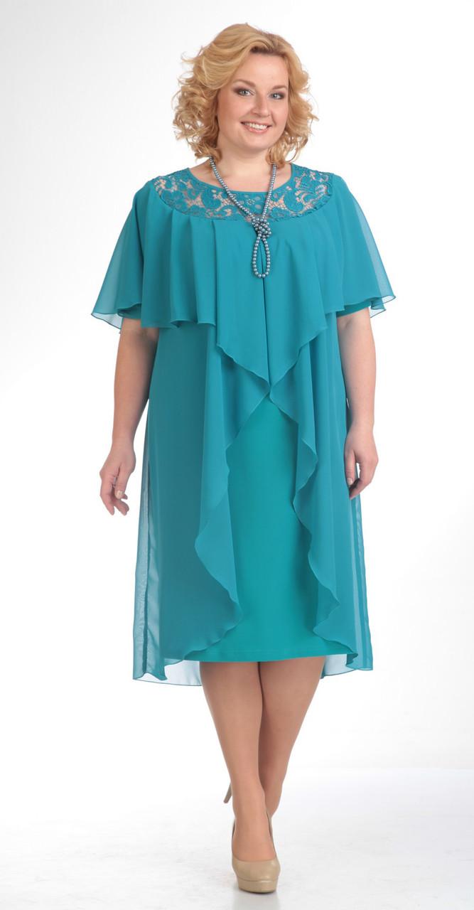 Платье Pretty-168/1 белорусский трикотаж, бирюза, 56